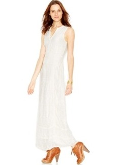 Lucky Brand Sleeveless Embroidered Maxi Dress