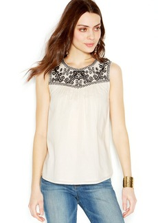Lucky Brand Sleeveless Embroidered-Yoke Top