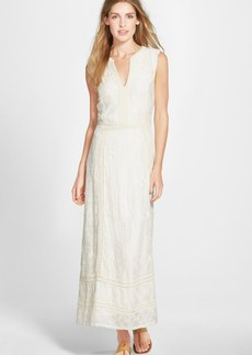 Lucky Brand Sleeveless Mixed Lace Maxi Dress
