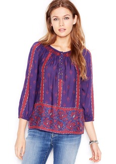 Lucky Brand Smocked-Neck Rose-Print Peasant Top