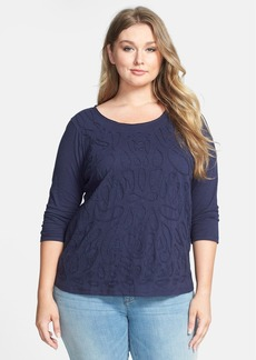 Lucky Brand Soutache Cotton Jersey Tee (Plus Size)