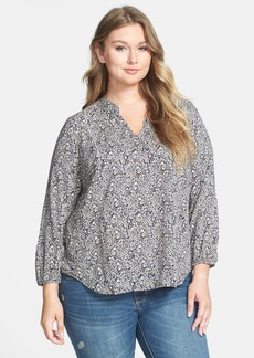 Lucky Brand Split Neck Ditsy Floral Print Top (Plus Size)