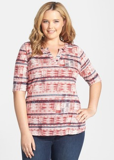 Lucky Brand Split Neck Geo Print Top (Plus Size)