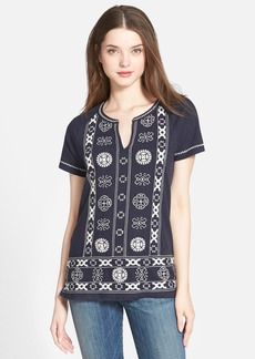 Lucky Brand Split Neck Top with Circle Embroidery