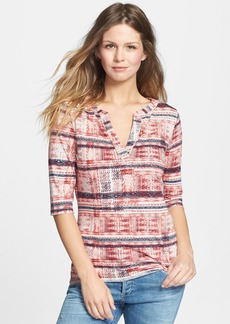 Lucky Brand Stripe Print Jersey Top