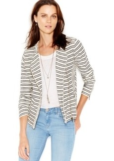 Lucky Brand Striped Zip-Front Sweater Jacket