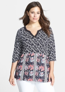 Lucky Brand Studded Floral Top (Plus Size)