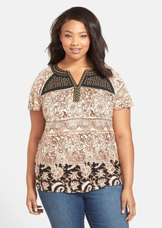 Lucky Brand Studded Yoke Print Top (Plus Size)
