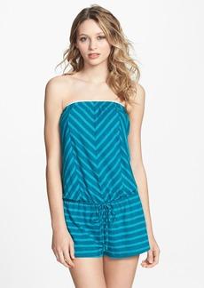Lucky Brand Swimwear 'Coastline' Stripe Split Back Strapless Romper