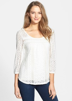 Lucky Brand 'Tanya' Lace Knit & Jersey Top