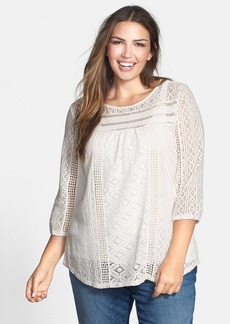 Lucky Brand 'Tanya' Lace Knit & Jersey Top (Plus Size)