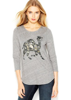 Lucky Brand Three-Quarter-Sleeve Camel-Print Tee