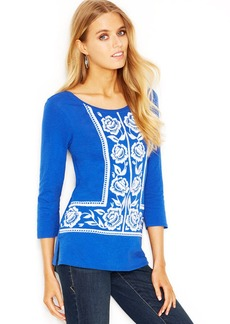 Lucky Brand Three-Quarter-Sleeve Embroidered Tee