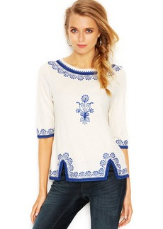 Lucky Brand Three-Quarter-Sleeve Embroidered Top