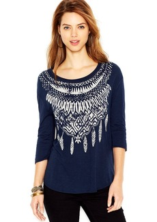 Lucky Brand Three-Quarter-Sleeve Feather-Print Tee