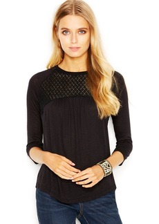 Lucky Brand Three-Quarter-Sleeve Lace-Inset Top