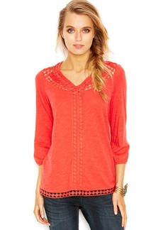 Lucky Brand Three-Quarter-Sleeve Lace-Inset Tunic