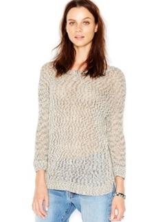Lucky Brand Three-Quarter-Sleeve Marled Pullover
