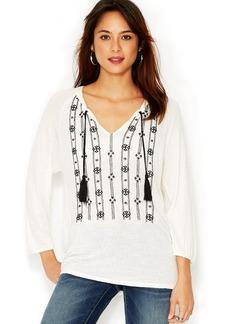 Lucky Brand Three-Quarter-Sleeve Split-Neck Embroidered Top