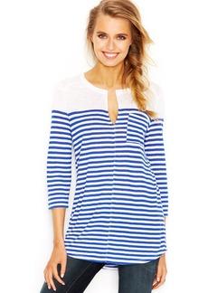 Lucky Brand Three-Quarter-Sleeve Split-Neck Striped Tunic