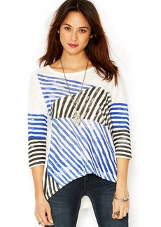 Lucky Brand Three-Quarter-Sleeve Striped High-Low Top