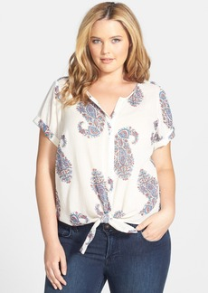 Lucky Brand Tie Front Paisley Top (Plus Size)