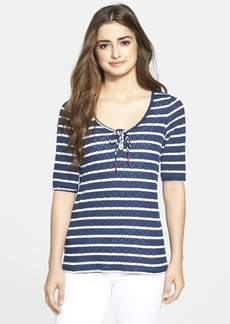 Lucky Brand Tie Neck Stripe Top