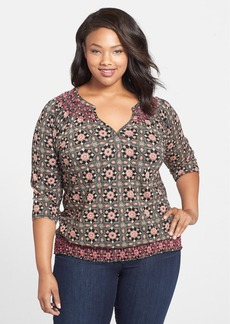 Lucky Brand 'Tiles' Smocked Top (Plus Size)