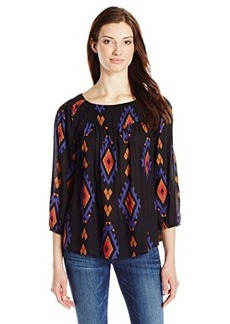 Lucky Brand Women's Amelia Printed Peasant Top