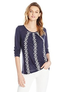 Lucky Brand Women's Arrow Embroidered Top