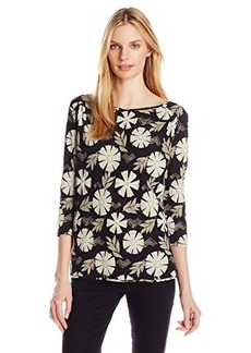 Lucky Brand Women's Black Floral Top