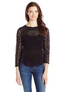 Lucky Brand Women's Black Mixed Lace Top