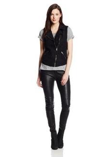 Lucky Brand Women's Black Moto Vest