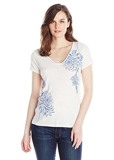 Lucky Brand Women's Blue Flower Tee