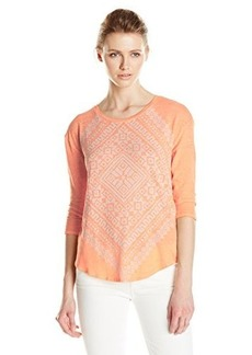 Lucky Brand Women's Burn Out Scarf Tee