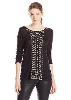 Lucky Brand Women's Cascading Embroidery Top