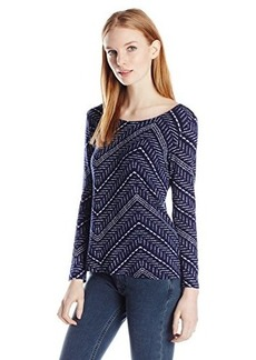Lucky Brand Women's Chevron Twist Back Top