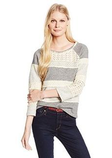 Lucky Brand Women's Crochet Pullover Sweatshirt