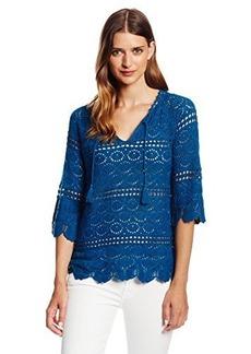 Lucky Brand Women's Crochet Sapphire Tunic Sweater
