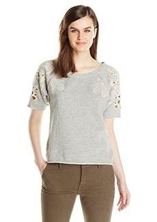 Lucky Brand Women's Crochet Sweat Pullover