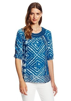 Lucky Brand Women's Crochet Trim Top