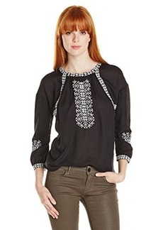 Lucky Brand Women's Cross Stitched Blouse