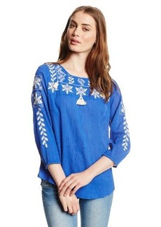 Lucky Brand Women's Dazzling Embroidered Top
