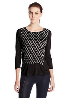 Lucky Brand Women's Ditzy Woodblock Top