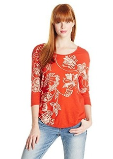 Lucky Brand Women's Dotted Floral Tee