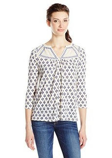 Lucky Brand Women's Embroidered Ikat Top
