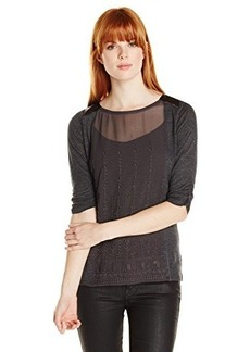 Lucky Brand Women's Embroidered Panel Top