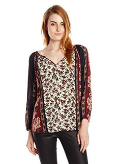 Lucky Brand Women's Floral Scarf Print Top