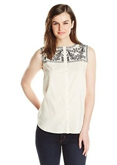 Lucky Brand Women's Geo Embroidered Top