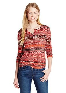 Lucky Brand Women's Intarsia Printed Thermal Top